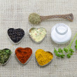 Various spices in heart chaped containers with salt and spoon — Stock Photo #61852015