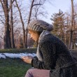 Young woman texting in winter — Stock Photo #62471067
