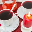 Two cups of tea and a burning candle — Stock Photo #65150939