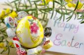 Hand painted decoupage Easter egg on a stand — Stock Photo