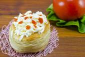 Homemade pastry with cheese and vegetables — Stock Photo
