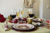 Dining Christmas table — Stock Photo