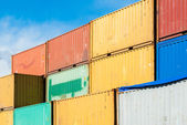 Stacked colored containers — Stock Photo