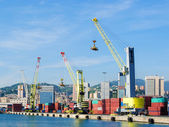 Cranes and containers at the harbor of Genoa — Stock Photo