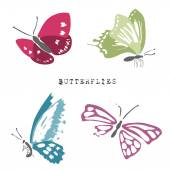 Set of dead and alive butterflies — Stock Vector