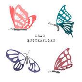 Set of dead butterflies — Stock Vector