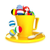 3d yellow coffee cup with soccer balls isolated on white — Stock Photo