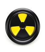 3d biohazard sign on black can cover — Stock Photo