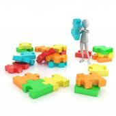 3d character and shinny and glossy puzzle pieces — Stock Photo