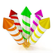 3d shinny and glossy colorful rockets fireworks — Stock Photo