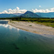 Panoramic view of the mountain river and stony shore — Stock Photo #67159471