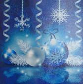 Snowflakes, balls, streamers — Stock Photo