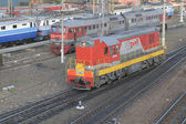 OREL (RUSSIA) in JUNE 19, 2015 - Diesel type CHME3T-7451 is on the rails at the train station. Top view of the front left side — Stock Photo