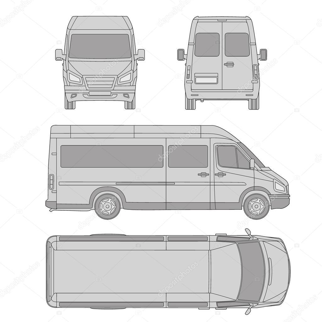 Mod le de voiture v hicule utilitaire camionnette de livraison plan dessin proection tous - Modele dessin voiture ...