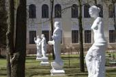 Statues in the courtyard of Ostrog Academy. — Stock Photo