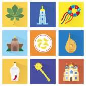Icons of capital of Ukraine — Stock Vector