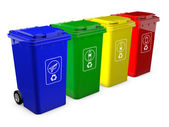 Colorful recycle bins isolated on white background — Stock Photo