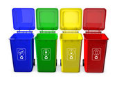 Colorful recycle bins isolated on white background — Stok fotoğraf