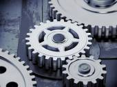 Gears on dark background. Abstract 3d illustration of gears. — Stock Photo