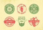 Bicycle Label Design Set. Bike Shop, Service and Rental. — Stock Vector