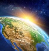 Lever du soleil sur la terre — Photo