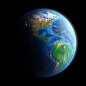 Planet Earth isolated on black — Stock Photo