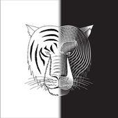 Tiger half wire face — Stock Vector