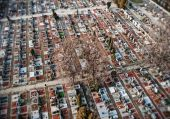 Cementery, aerial top view in the winter — Foto Stock