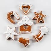 Christmas gingerbread handmade with white icing — Stock Photo
