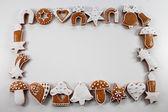 Noel çerçeve arka plan gingerbreads — Stok fotoğraf
