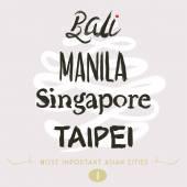 Asian Cities Set- Bali, Manila, Taipei — Stock Vector