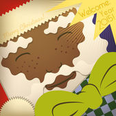 African Santa Claus Greeting Card. — Stock Vector