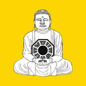 Buddha meditates — Stock Vector