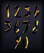 Golden and Black Ribbon Numerals — ストックベクタ