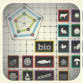 Graph background including biology symbols — Vector de stock