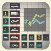 Graph background including transport symbols — Vettoriale Stock
