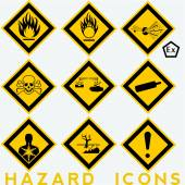 Hazard Icons: 9  and 1 package symbols. — Stock Vector