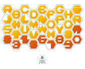 Sweet background of hexagons with letters — Stock Vector