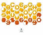 Sweet background of hexagons with letters — Vector de stock