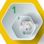 Yellow infographic hexagons — Stock Vector