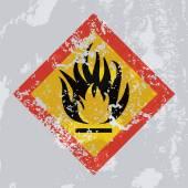 Fire hazard grunge sign. — Stok Vektör