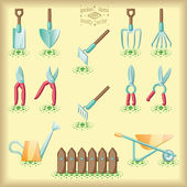 Gardening tools set of illustration — Stockvektor