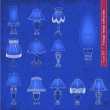 Vintage table lamp blueprint illustration set — Stock Vector #60447425