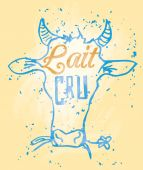 Lait Cru Signage in a Cow Head — Stock Vector
