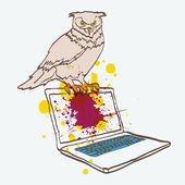 Cute owl with laptop — Vecteur