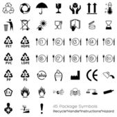 Collection of 45 Packaging Symbols — Stock Vector