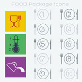 13 Food Packaging Symbols — Vettoriale Stock