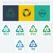 9 Recycle Packaging Symbols — Stock Vector