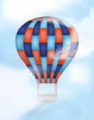 Hot Air Balloon with Blue and Red — Stock Vector