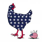 American hen — Stock Vector